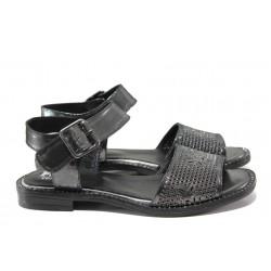 Дамски сандали от естествена кожа МИ 770-56 графит | Равни дамски сандали | MES.BG