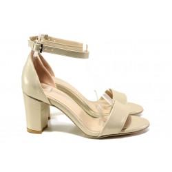 Анатомични дамски сандали МИ 220-36 бежов | Дамски сандали на ток | MES.BG