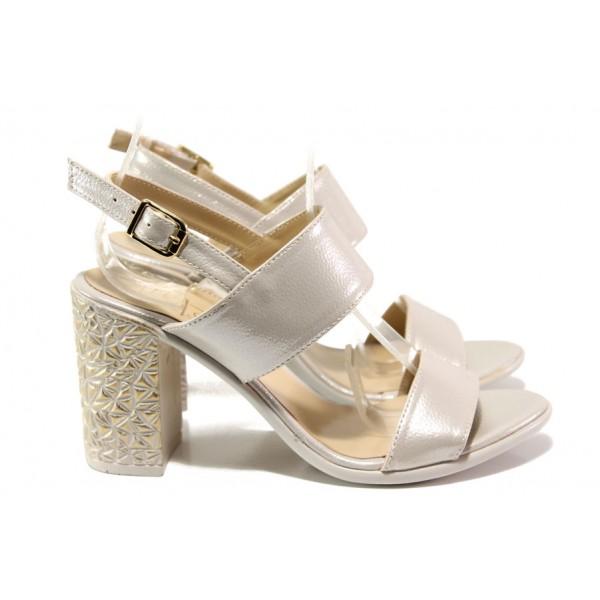 Комфортни дамски сандали на висок ток МИ 1016-7 бежов | Дамски сандали на ток | MES.BG