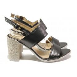 Комфортни дамски сандали на висок ток МИ 1016-8 графит | Дамски сандали на ток | MES.BG