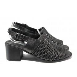 Дамски сандали от естествена кожа МИ 141-18 черен | Дамски сандали на ток | MES.BG