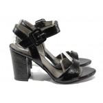 Комфортни дамски сандали на висок ток ФА 146-901 черен лак | Дамски сандали на ток | MES.BG