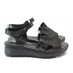 Дамски сандали от естествена кожа МИ 401-61 черен | Равни дамски сандали | MES.BG