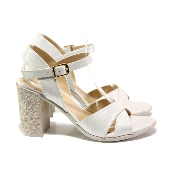 Комфортни дамски сандали на висок ток МИ 1017-5 бял | Дамски сандали на ток | MES.BG