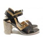 Комфортни дамски сандали на висок ток МИ 1017-8 графит | Дамски сандали на ток | MES.BG