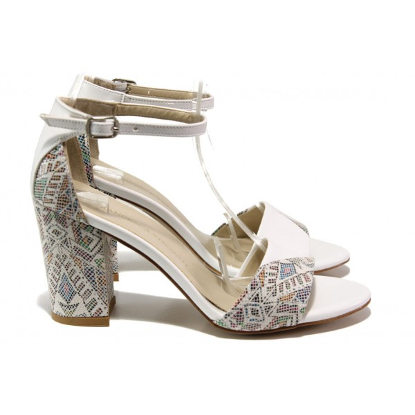 Комфортни дамски сандали на висок ток ФА 546-1 бял | Дамски сандали на ток | MES.BG
