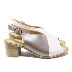 Дамски сандали от естествена кожа МИ 955-140 бял-бежов | Дамски сандали на ток | MES.BG