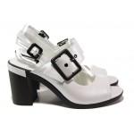 Анатомични дамски сандали от естествена кожа МИ 565-34 бял | Дамски сандали на ток | MES.BG