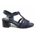 Дамски сандали от естествена кожа МИ 9252-22 син | Дамски сандали на ток | MES.BG