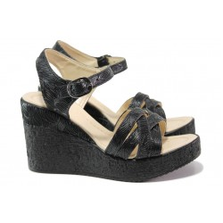 Модерни дамски сандали на платформа МИ 101-259 черен | Дамски сандали на ток | MES.BG