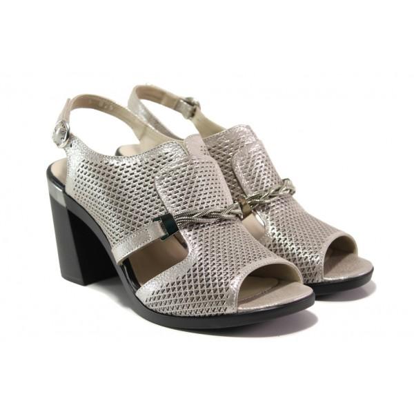 Дамски сандали от естествена кожа МИ 536-825 бежов | Дамски сандали на ток | MES.BG