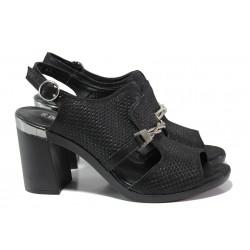 Дамски сандали от естествена кожа МИ 536-65 черен | Дамски сандали на ток | MES.BG