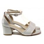 Комфортни дамски сандали ФА 869-2 св.сив-сребро | Дамски сандали на ток | MES.BG