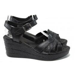Анатомични български сандали от естествена кожа НЛ 202-96145 черен | Дамски сандали на платформа | MES.BG