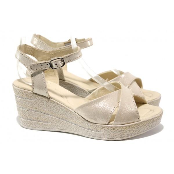 Анатомични български сандали от естествена кожа НЛ 240-96145 бежов сатен | Дамски сандали на платформа | MES.BG