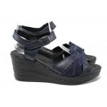 Анатомични български сандали от естествена кожа НЛ 202-96145 син | Дамски сандали на платформа | MES.BG