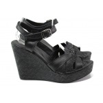 Анатомични български сандали от естествена кожа НЛ 202-96134 черен | Дамски сандали на платформа | MES.BG