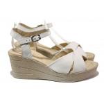 Анатомични български сандали от естествена кожа НЛ 240-96145 бял | Дамски сандали на платформа | MES.BG