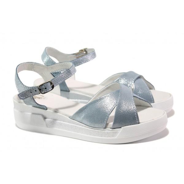Анатомични български сандали от естествена кожа НЛ 240-8218 океан сатен | Равни дамски сандали | MES.BG