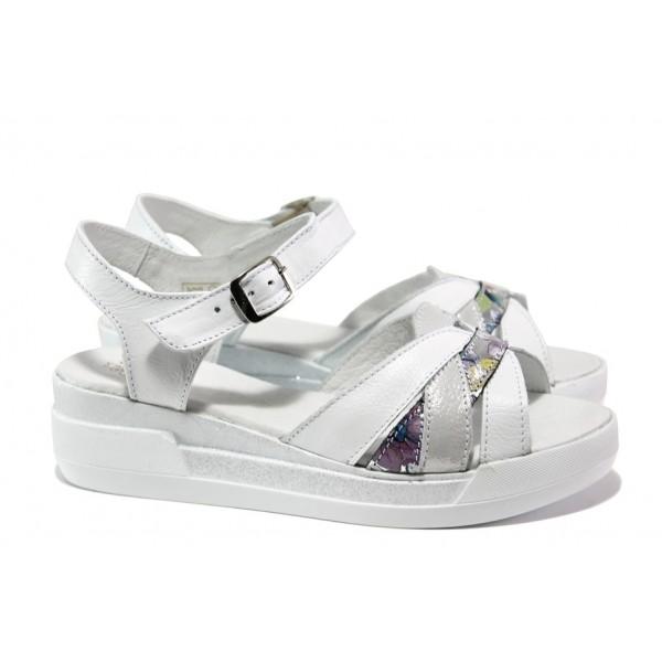 Анатомични български сандали от естествена кожа НЛ 202-8218 бял цветя | Равни дамски сандали | MES.BG