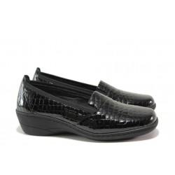 Дамски ортопедични обувки от естествена кожа-лак SOFTMODE 1114 черен кроко | Дамски обувки на платформа | MES.BG