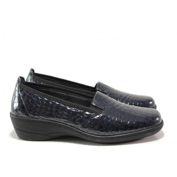 Дамски ортопедични обувки от естествена кожа-лак SOFTMODE 1114 т.син кроко   Дамски обувки на платформа   MES.BG