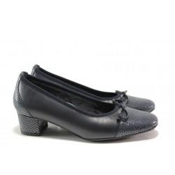Дамски ортопедични обувки SOFTMODE 5602 син кожа | Дамски обувки на среден ток | MES.BG