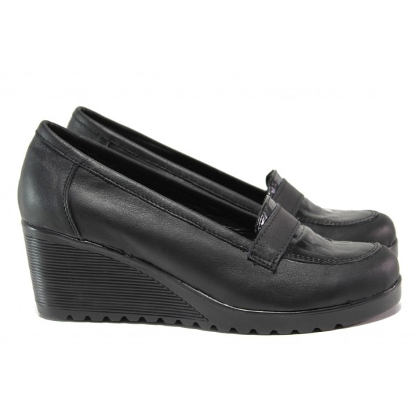 Анатомични български обувки от естествена кожа НЛ 282-1707 черен кроко | Дамски обувки на платформа | MES.BG