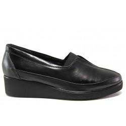 Дамски ортопедични обувки от естествена кожа МИ 6652 черен | Дамски обувки на платформа | MES.BG