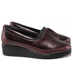 Дамски ортопедични обувки от естествена кожа МИ 6652 бордо | Дамски обувки на платформа | MES.BG