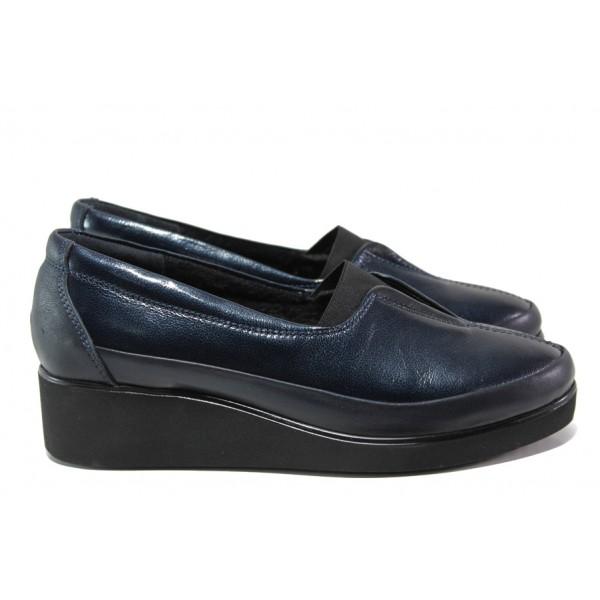 Дамски ортопедични обувки от естествена кожа МИ 6652 син | Дамски обувки на платформа | MES.BG