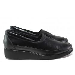 Дамски ортопедични обувки от естествена кожа МИ 6522 черен гигант | Дамски обувки на платформа | MES.BG