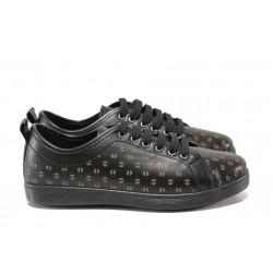 Дамски ортопедични обувки от естествена кожа МИ 201-14 черен | Равни дамски обувки | MES.BG