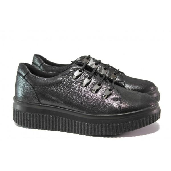 Дамски ортопедични обувки от естествена кожа МИ 19523-2010 черен | Равни дамски обувки | MES.BG