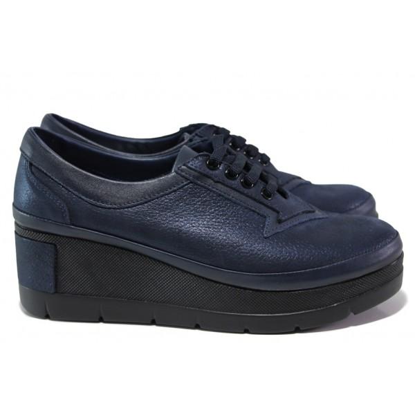 Анатомически дамски обувки от естествена кожа МИ 808-048 син | Дамски обувки на платформа | MES.BG