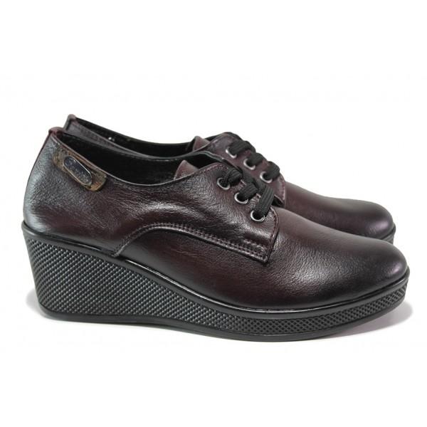 Анатомически дамски обувки от естествена кожа МИ 130 бордо | Дамски обувки на платформа | MES.BG
