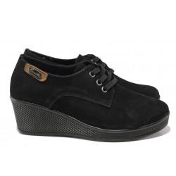 Анатомически дамски обувки от естествен набук МИ 130 черен| Дамски обувки на платформа | MES.BG