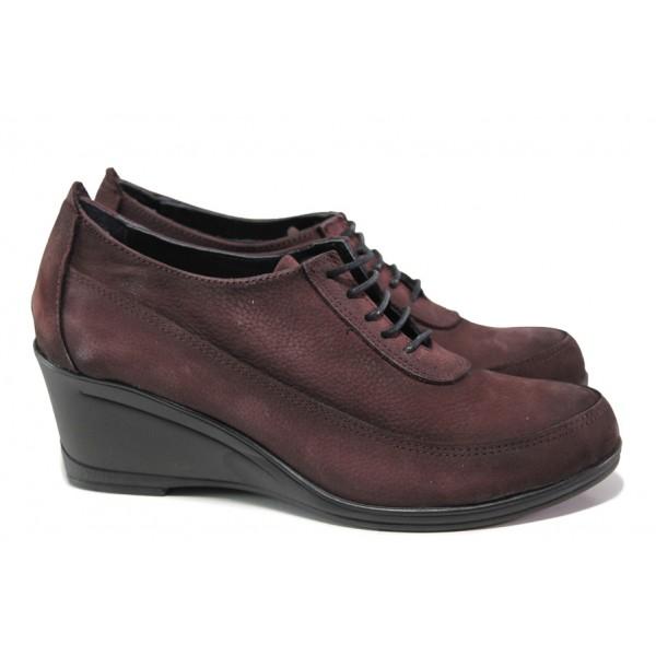 Анатомически дамски обувки от естествен набук МИ 401 бордо | Дамски обувки на платформа | MES.BG