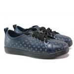 Дамски ортопедични обувки от естествена кожа МИ 201-15 син | Равни дамски обувки | MES.BG