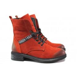 Дамски боти от естествен набук МИ 305-91 червен | Дамски боти с топъл хастар | MES.BG