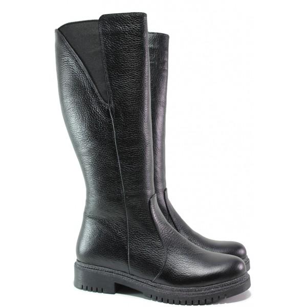 Дамски ботуши от естествена кожа МИ 800-36 черен | Дамски ботуши с топъл хастар | MES.BG