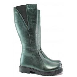 Дамски ботуши от естествена кожа МИ 800-80 зелен | Дамски ботуши с топъл хастар | MES.BG