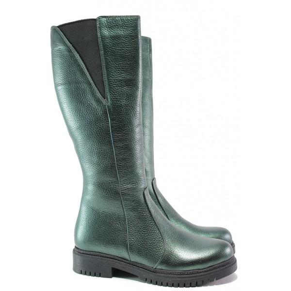 Дамски ботуши от естествена кожа МИ 800-80 зелен   Дамски ботуши с топъл хастар   MES.BG