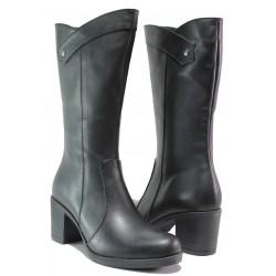 Дамски ботуши от естествена кожа МИ 555 черен | Дамски ботуши с топъл хастар | MES.BG