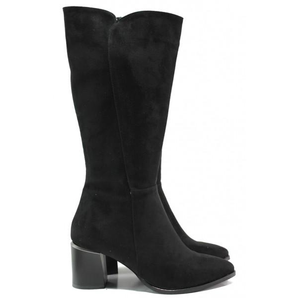 Елегантни дамски велурени ботуши МИ 598 черен | Дамски ботуши с топъл хастар | MES.BG