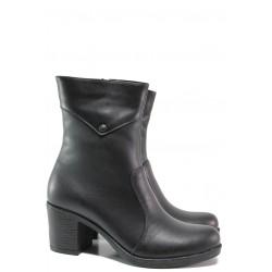 Дамски боти от естествена кожа МИ 200 черен | Дамски боти с топъл хастар | MES.BG