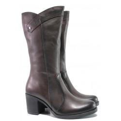 Дамски ботуши от естествена кожа МИ 555 кафяв | Дамски ботуши с топъл хастар | MES.BG