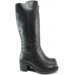 Дамски ботуши от естествена кожа МИ 106-39 черен | Дамски ботуши с топъл хастар | MES.BG