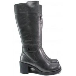 Дамски ботуши от естествена кожа МИ 106-39 сив графит | Дамски ботуши с топъл хастар | MES.BG