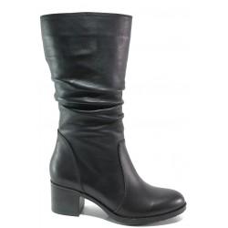 Дамски ботуши от естествена кожа МИ 703 черен | Дамски ботуши с топъл хастар | MES.BG